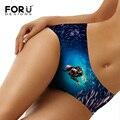 Forudesigns novidade 3d cão no fundo do mar impresso sexy underwear para as mulheres confortáveis sem costura calcinha mulheres underwear calcinha