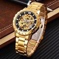 SHENHUA Hombres Relojes Mecánicos de la Marca de Lujo de Oro Automático Esquelético Viento del Uno Mismo Reloj De Los Hombres de Alta Calidad de Aleación de Reloj de Engranajes