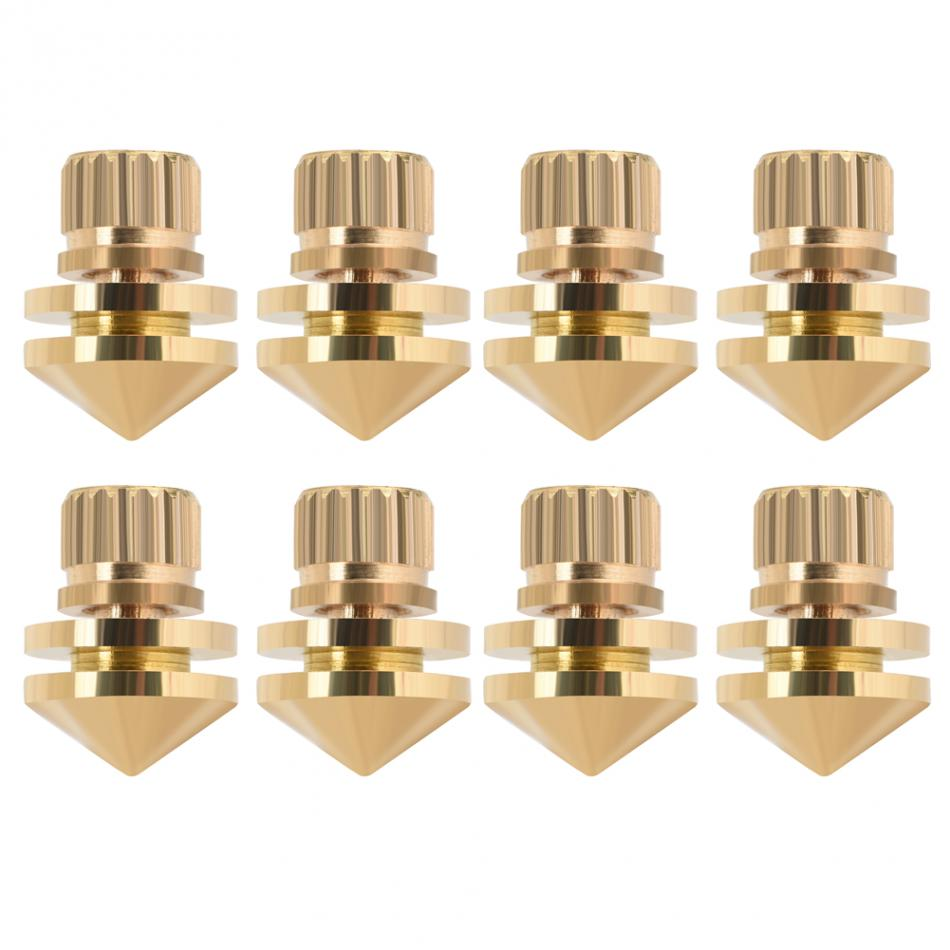 8 Pcs/set Copper Speaker Suspension Spikes Isolation Stands Foot Base Pad for Active speaker