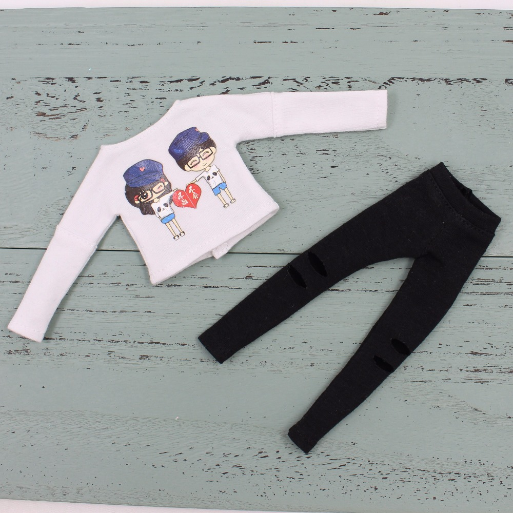 Neo Blythe Doll White Shirt with Black Pants 5