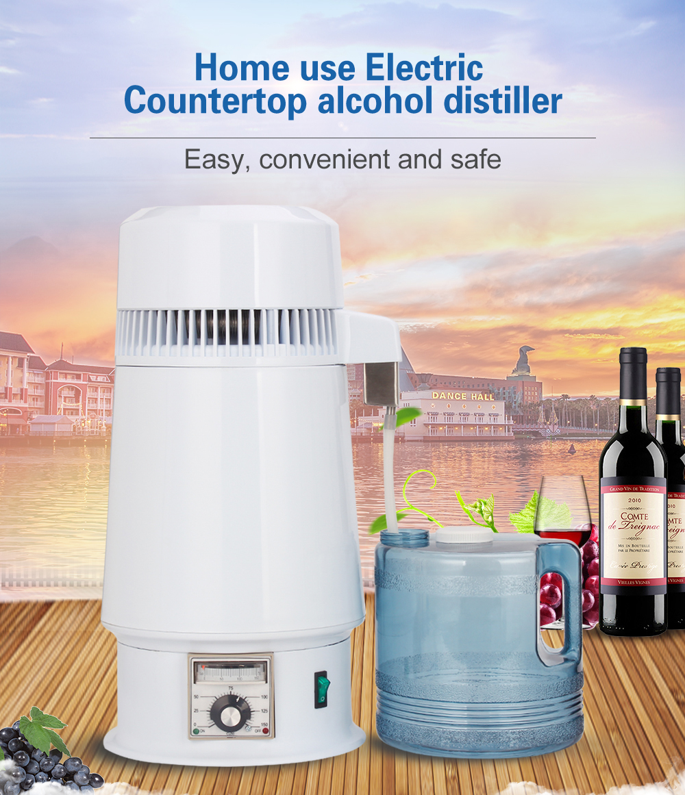 750W 4L Home Alcohol Distiller Pure Water Filter Machine 220V Distillation Purifier Dental Equipment Boiler Brewing Glass Jar