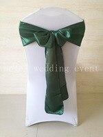 Free Shipping 100pcs Oasis Blackish Green Satin Sash Chair Sashes 15x275cm Chair Bow Knot For Wedding