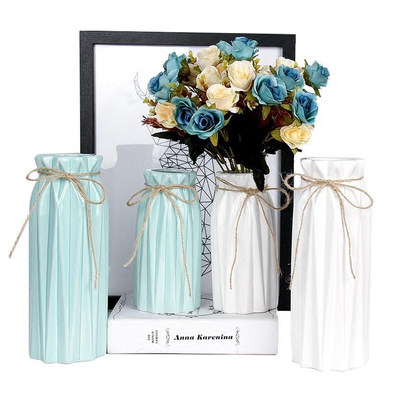 Европейский Современная мода мини Керамика ваза для дома Office для настольных Украшения для Свадебные подарки одноцветное Цвет Вазы