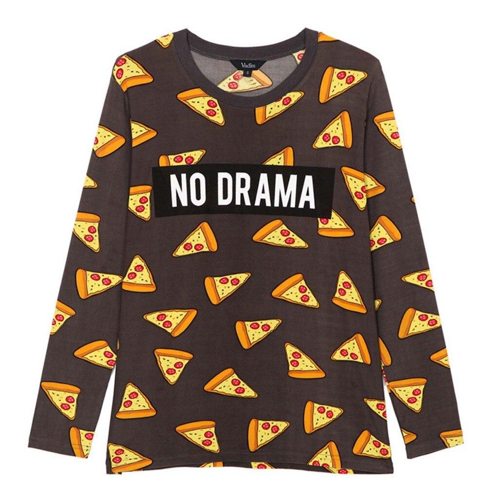 6315ff2f2 Women cute pizza letters print t shirt cake NO DRAMA long sleeve tees  fashion streetwear shirts casual loose cozy tops LT629