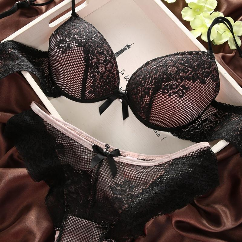 Intimates Sexy   Bra   And   Set   Lace Lingerie Comfortable Gathering   Bra   Fashion Style Brassiere Nylon   Bra     Set