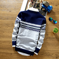 Conjuntos de suéter de cuello redondo de la raya masculinos adolescentes otoño knit Del suéter de ocio de moda