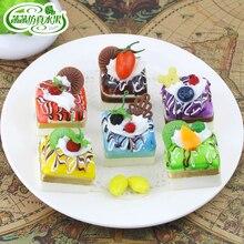 Square ribbon small cake pastry food model plastic decoration