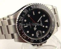 Parnis 40 mm black dial Red estilo mãos GMT cerâmica moldura vidro de safira automatic mens watch 977