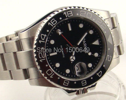Parnis 40mm black dial Red GMT hands Style Ceramic Bezel sapphire glass automatic mens watch 977