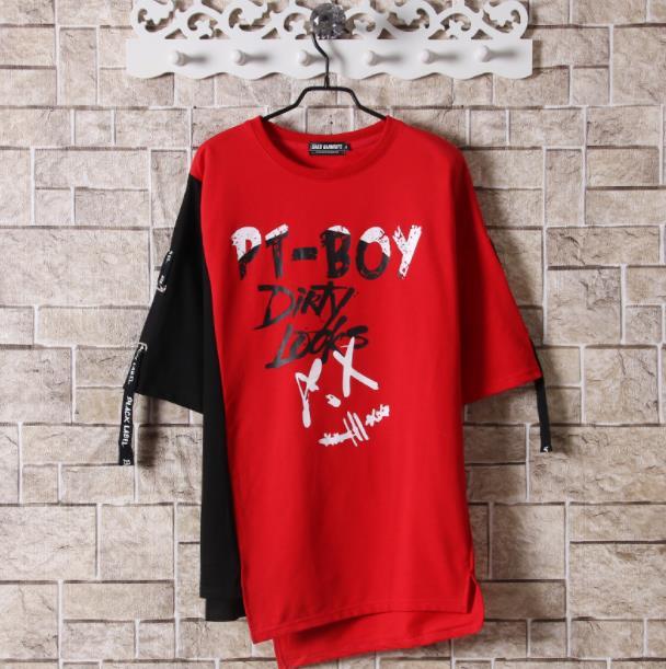 Hip Hop Patchwork Print T-shirts Men Streetwear tshirt Short Sleeve Irregular Hem 2019 Summer Spring Hip Hop Tops Tees Male 1
