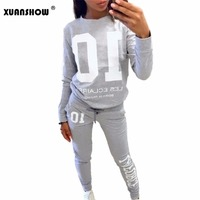 2016 Autumn Winter Fashion 2 Piece Set Tracksuit For Women Pant And Sweatsuits 10 Printed Women