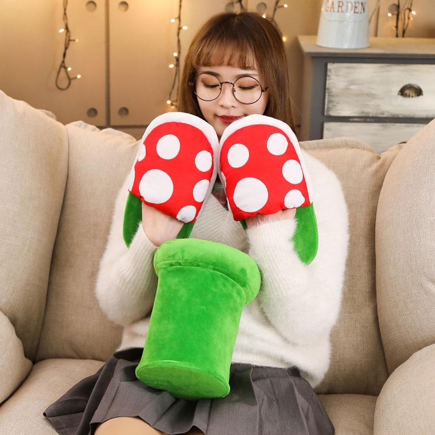 Women Halloween Carnival Fancy Funny Flower Cosplay Shoes Super Mario Cannibal Flower Piranha Slip On Home Wear Slippers