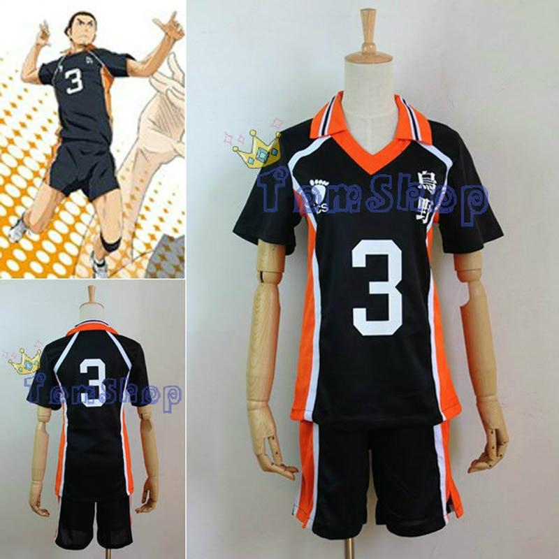 ¡Nuevo Anime tee! Escuela Secundaria Karasuno #3 Azumane Ashi voleibol Club Jersey Cosplay traje ropa deportiva uniforme M L XL XXL