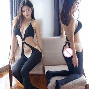 Соблазнительные женские чулки, Эротическое нижнее белье, черные, с открытым шаговым швом, колготки для женщин, сексуальное нижнее белье с ля...