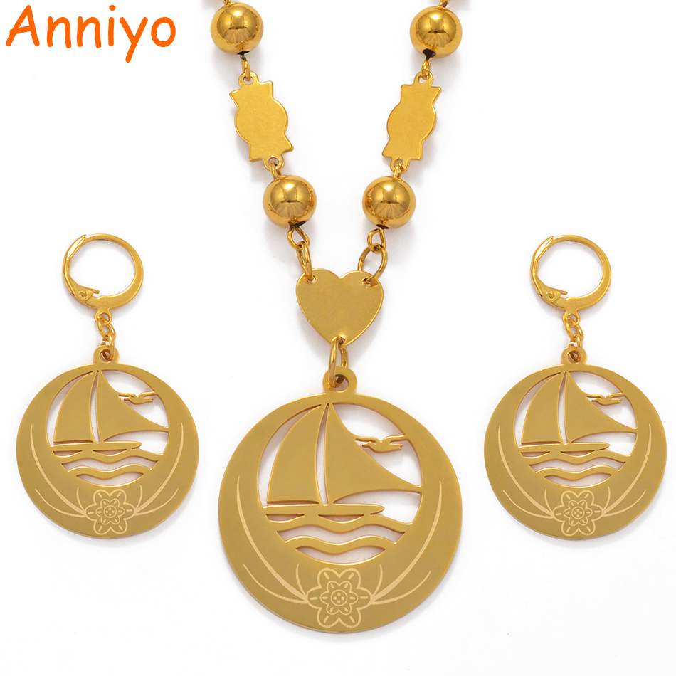 Anniyo Boat Seagull Big Size Jewelry sets Bead Necklace Earrings for Womens Gold Color Micronesia Guam Hawaii Marshalls #076821Anniyo Boat Seagull Big Size Jewelry sets Bead Necklace Earrings for Womens Gold Color Micronesia Guam Hawaii Marshalls #076821