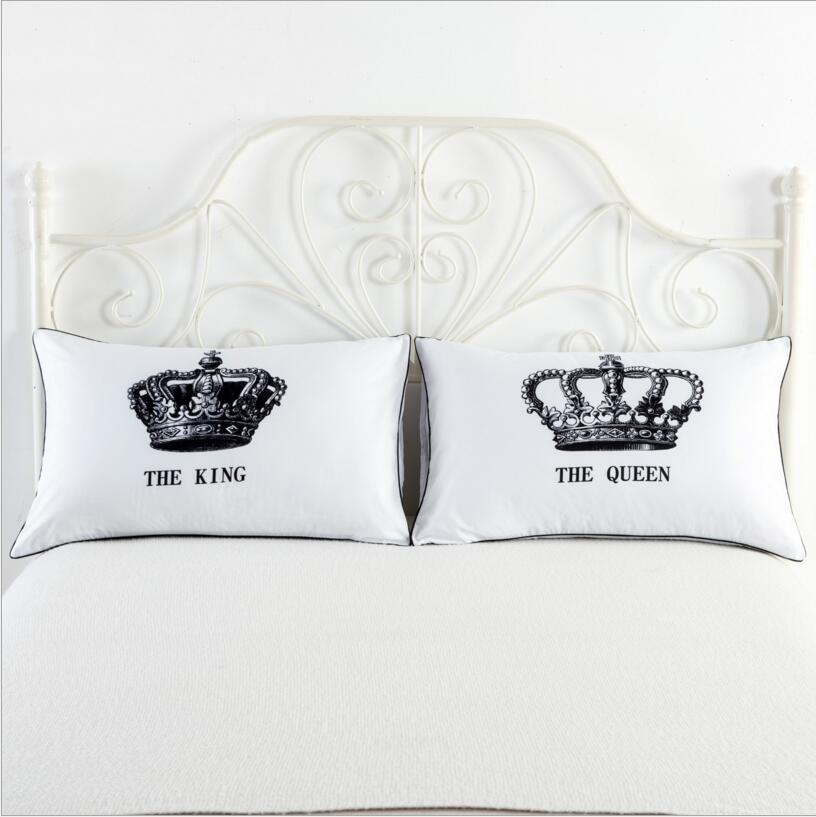 Queen King Pillowcase Decorative Pillow Case Romantic Wedding Valentine's Gift MR and MRS ...