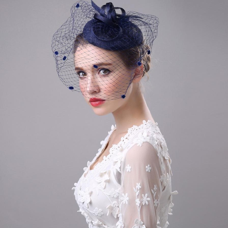 Mode Braut Fascinator Mesh Blume Hüte Für Frauen Federn Hochzeit Party Gesicht Schleier Kappe Hut Fedoras Braut Vintage Hüte D30