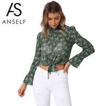 0cd888d72e04 Anself Women Autumn Chiffon Blouse Floral & Leopard Print Turtleneck Crop  Top Female Flare Sleeve Bandage Casual Basic Tops 2019