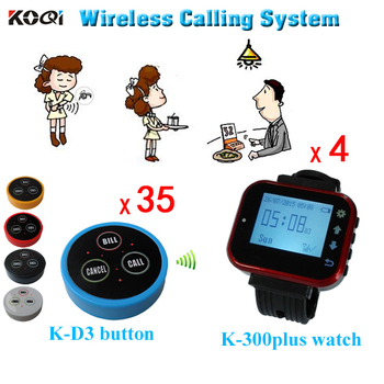 Wireless Waiter Call System 35pcs Press Buttons and 4pcs Smart Watch DHL Free Shipping