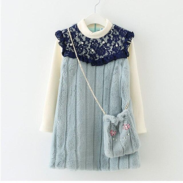 fb19bc7dbcd31 4 t à 14 t enfants et adolescent filles dentelle patchwork princesse robe  d hiver