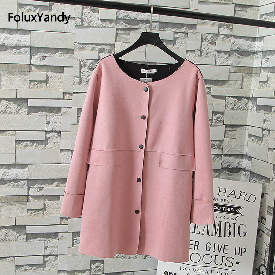 Suede   Trench   Coat for Women Plus Size 3 XL Casual Single Breasted   Trench   Outerwear Pink Blue Black KKFY152