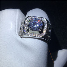 Beautiful luxury Male ring Big 3ct Clear 5A zircon cz 925 Sterling Silver