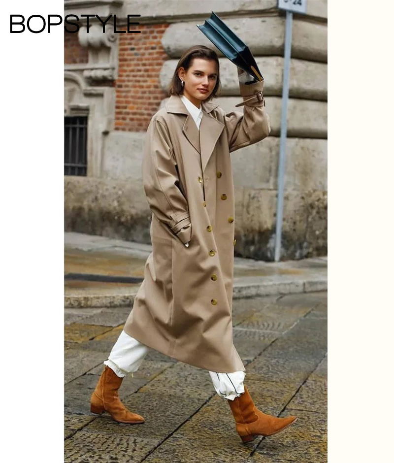 High end 2018 Oversized Cotton blend Streamlined Trench Coat With Round Shape Silhouette Dropped Shoulder Seam