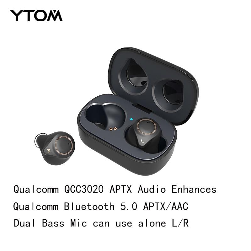 YTOM T1 TWS True sans fil Bluetooth 5.0 prise en charge des écouteurs AptX ACC CVC8 annulation du bruit avec Super basse HD micro casque écouteurs