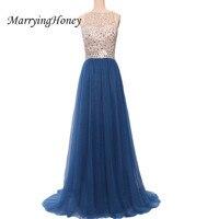 Sexy Sheer Backless Royal Blue Lange Prom Kleider 2017 Echt Bild Sequins Plissee Chiffon-Abend-partei-kleid Vestidos