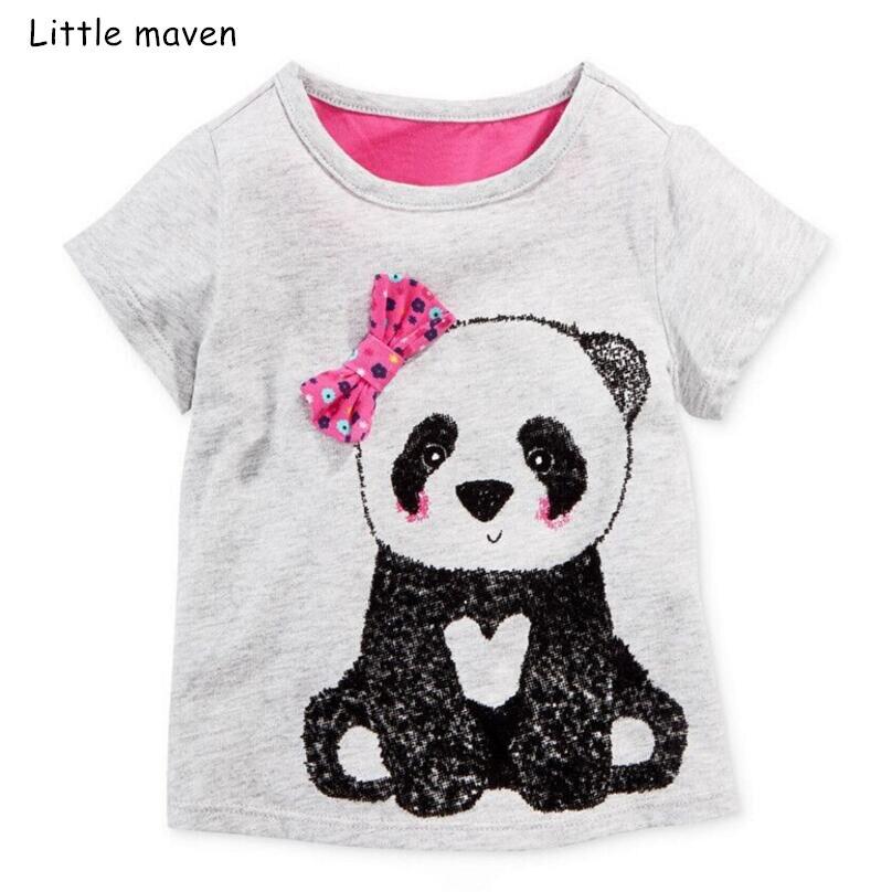 Little Maven Children Clothes 2019 Summer Baby Girl Clothes Short Sleeve Tee Tops Animal Print Cotton Brand T Shirt 20208