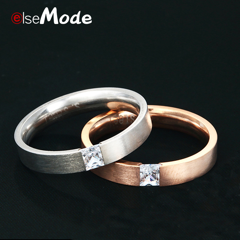 ELSEMODE Classic Shine CZ Stone Stainless Steel Engagement Ring Lovers Promise Rose Gold Rings For Women Couple Jewelry(China)