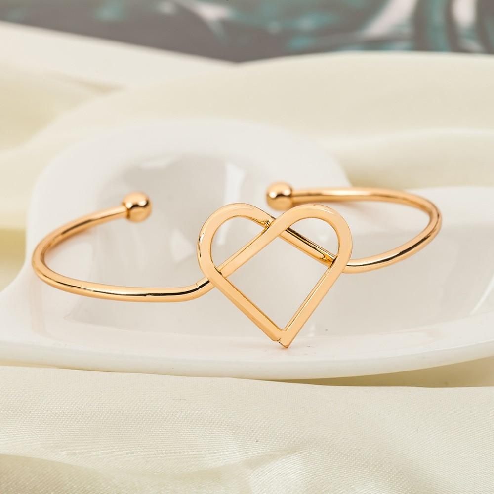 Interwoven Knotted Hollow Heart Opening Adjustable Metallic Golden Silver Bracelest & Bangles for Women