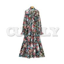 цены на CUERLY women bow tie collar floral maxi dress ruffles side zipper pleated long sleeve female casual dresses retro vestidos  в интернет-магазинах