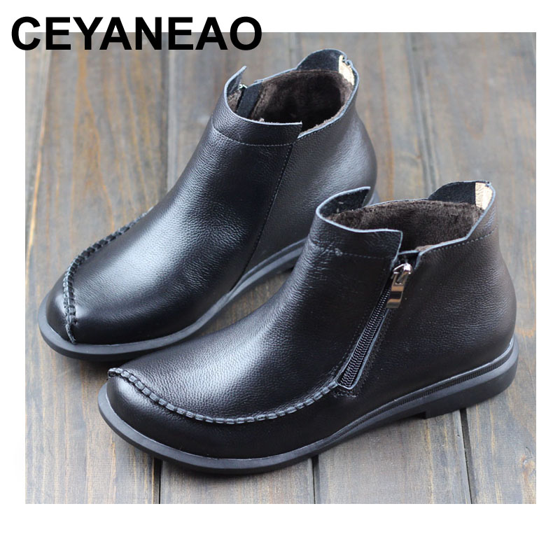 CEYANEAO  Womens Boots Round toe Zip Winter Shoes 100% Authentic Leather Womenns Winter Boots Female Footwear (0389-5)CEYANEAO  Womens Boots Round toe Zip Winter Shoes 100% Authentic Leather Womenns Winter Boots Female Footwear (0389-5)
