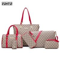 Autumn New Fashion Women's Bag 6 Piece Set Plaid Bag Lady Slung Hand Bag Shoulder Messenger Composite Bag