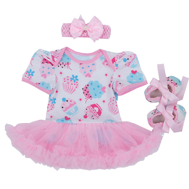 Niñas bebés Que Arropan Venda + Zapatos + Tutu Romper Set 1er Cumpleaños Torta Trajes de Fiesta Princesa Bebe Roupas Infantis Menina