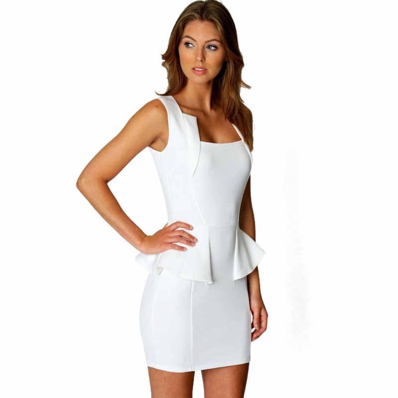 ... Top Quality M L XL Women Lady Sexy Fashion OL Peplum Dress Party Bodycon  Dresses White Black ... f9a02d260a36