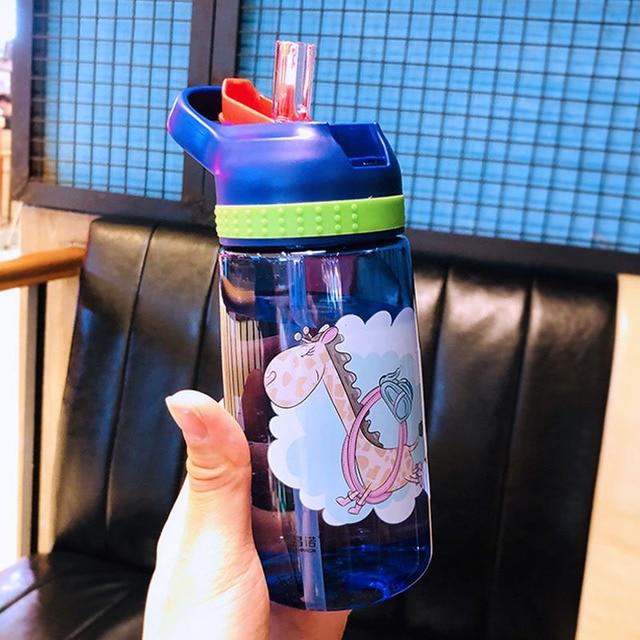 450ml Kids Water Bottle With Straw BPA Free Children Water Drinking Kettle Healthy Plastic Portable Sports Bottle 2