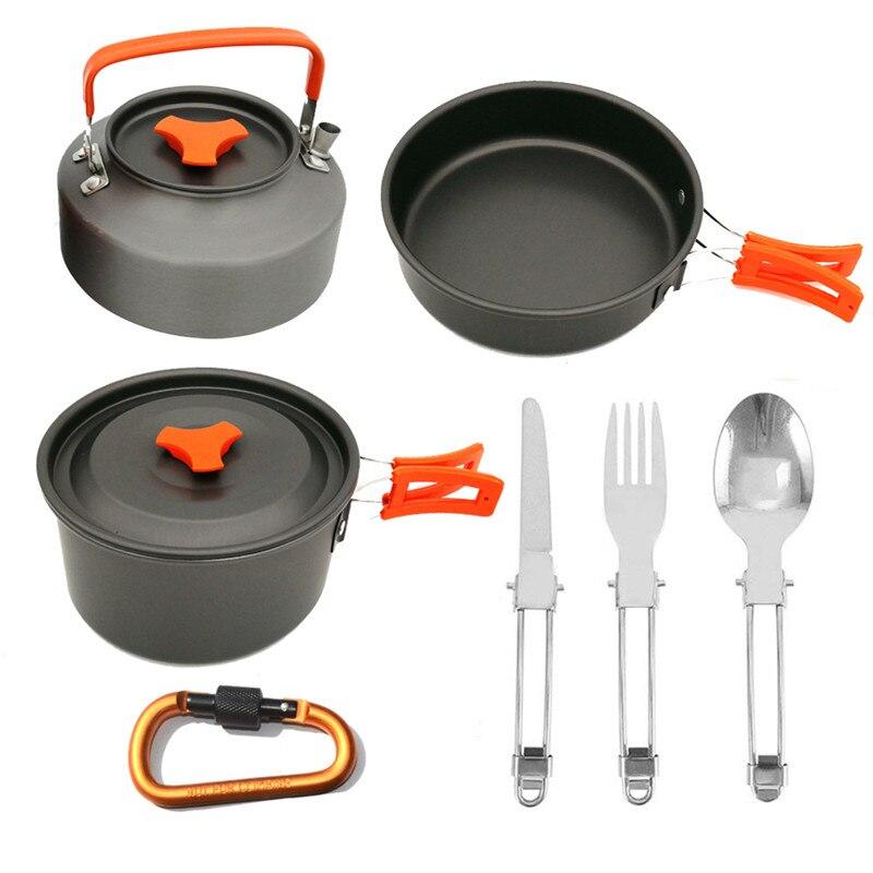 Extérieur Camping ustensiles de cuisine pique-nique Pot casserole théière ensemble pour 2-3 personne touristique randonnée vaisselle bouilloire Set de cuisine ustensiles de Camping