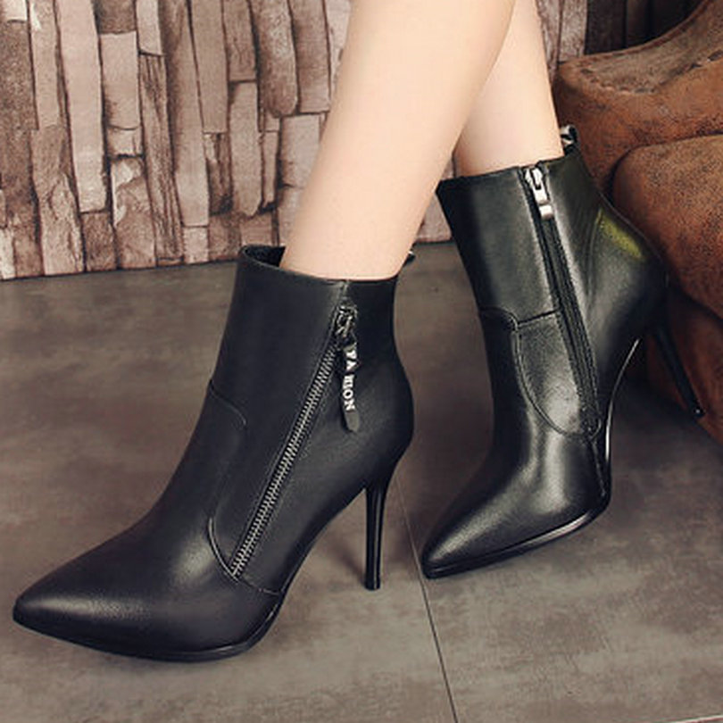 ФОТО Size 34-39 Thin High Heel Woman Ankle Boots Women Shoes Simple And Fashion Genuine Leather Zipper Ladies Motorcycle Boot