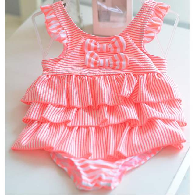 228126209bcab 2018 new Korean version of baby cute children's swimsuit little princess  striped cake Siamese girls swimwear