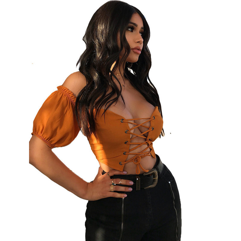 Más Muxu Ropa Khaki Arropan Tops Top Shiping Mujeres De Ruffle Libre Patchwork Verano Que Las Tamaño Streetwear Blusas Del Para dwaqfrAwxS