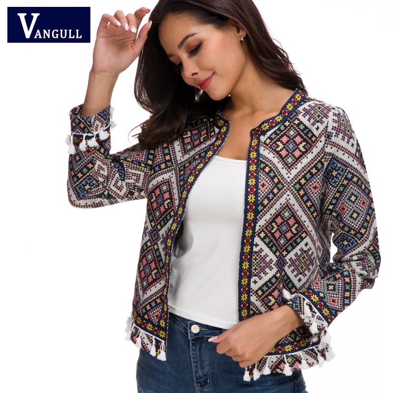 VANGULL Women Coat 2019 New Floral Spring O Neck Long Sleeve Tassel Cardigan for Woman Autumn Jackets Embroidery Boho Women Tops