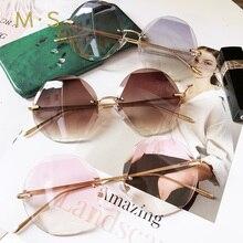 2018 new round sunglasses women oversized eyewear gradient brown pink rimless sun glasses for female gift uv400