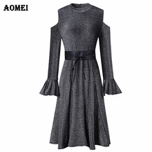 Lurex Knitted Sweater Dress Cold Shoulder Knitting Waistbelt Pleated Elegant  Fall Fashion Stretched Classy Womens Jumper Robes b8970714d2ad