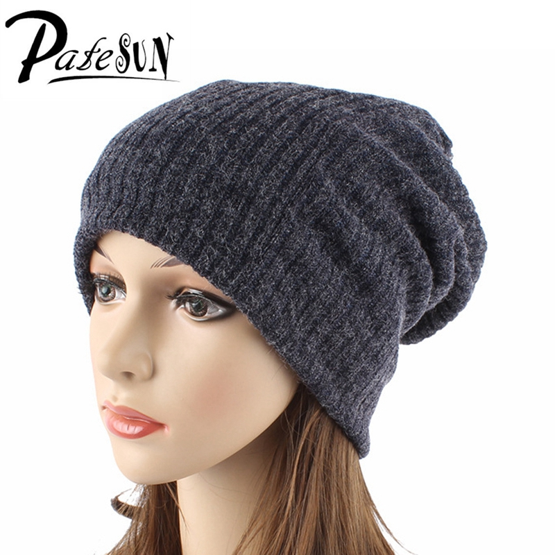 Patesun Women's Winter Skullies Hat Solid Female Imitation Cashmere Caps Knitted Brand Ladies Beanies Fashion Hats skullies