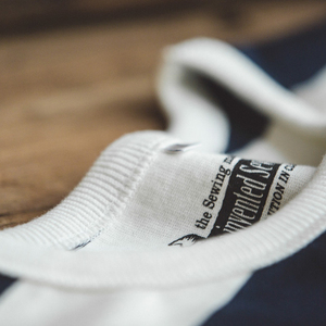 Image 3 - 魔伝メンズカジュアルプルオーバークルーネックロングスリーブストライプコットン Tシャツ青と白