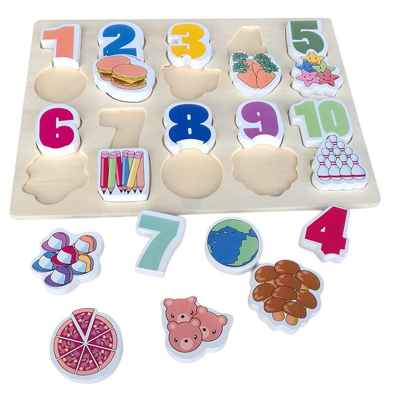 Cartoon Wooden Digital Puzzle Cognition Toys For Children ...