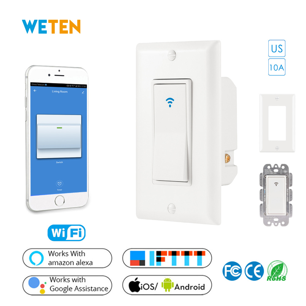 US Wifi Smart Wall Light Switch Mobile APP Voice Control