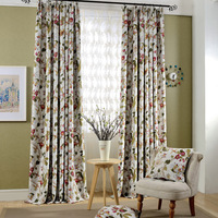 The new high grade window shade curtains Pastoral flowers printing cloth curtains for bedroom and living room